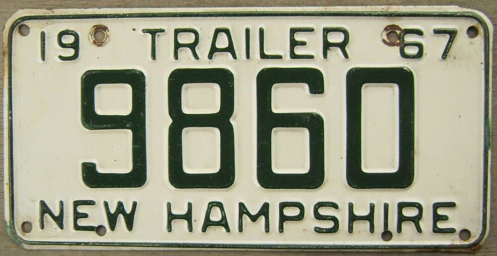 1967 new hampshire trailer license plate 9860 ebay for New hampshire fishing license
