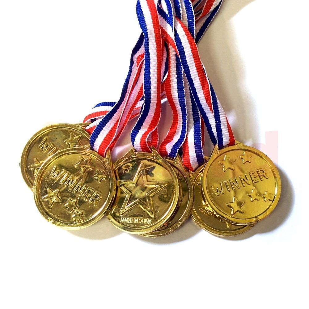 Toys For Awards : Children gold plastic winners medals schools party