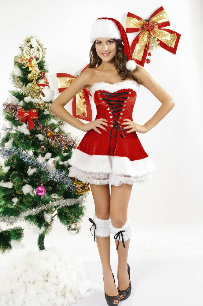 5 pc sexy christmas lingerie dress set red velvet mrs claus costume 7173 usa ebay. Black Bedroom Furniture Sets. Home Design Ideas