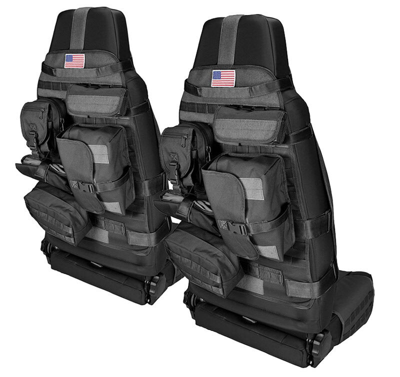 New Black Front Cargo Seat Cover Pair W Molle For 1976