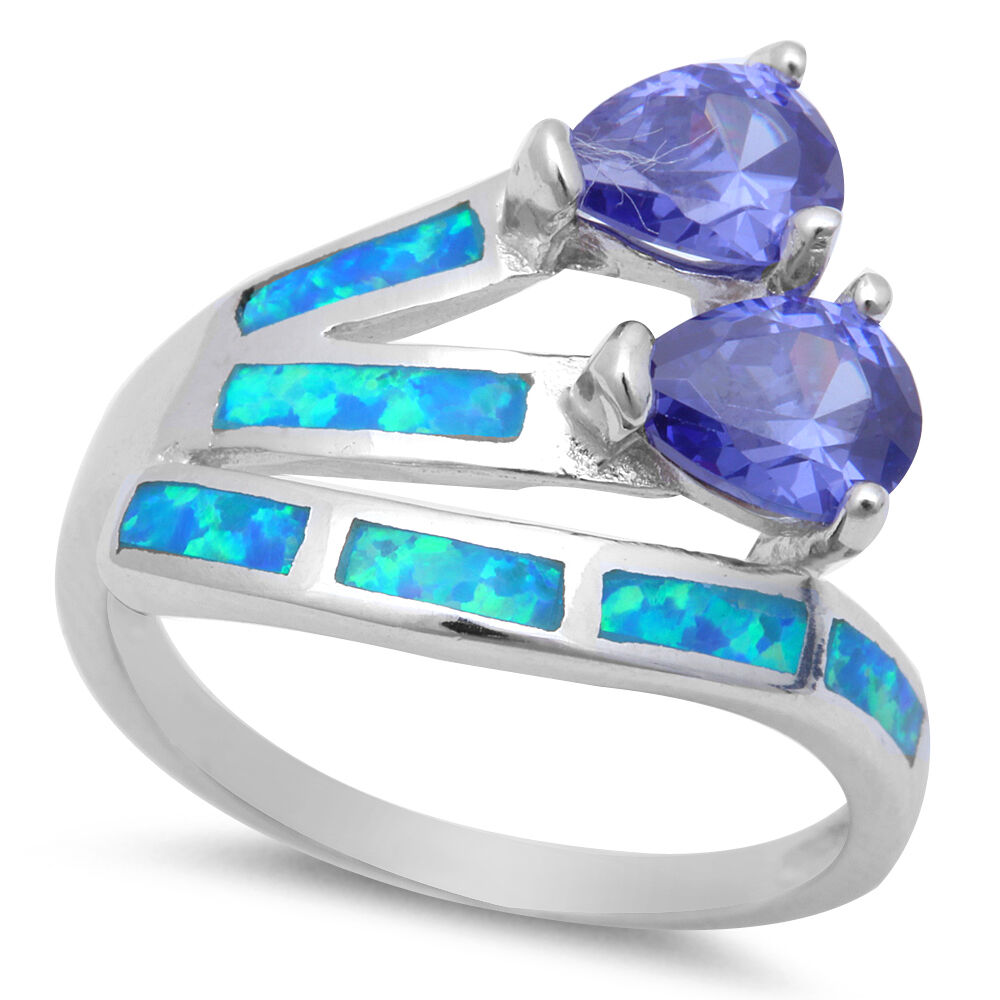 Simulated Tanzanite: Simulated Tanzanite And Lab Created Opal .925 Sterling