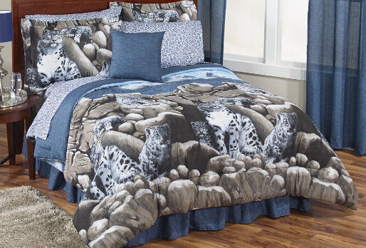Snow leopard wild cat full comforter set 8 piece bed in a for Wild bedding