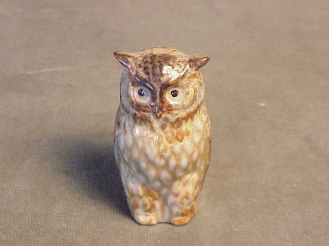 Vintage Stoneware Pottery Brown Dappled Barn Owl Figurine