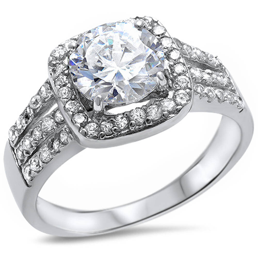 BEAUTIFUL! ENGAGEMENT RING! Round Russian CZ .925 Sterling