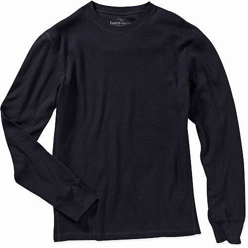 Men 39 s thermal shirt faded glory long sleeve 100 cotton for Men s thermal henley long sleeve shirts
