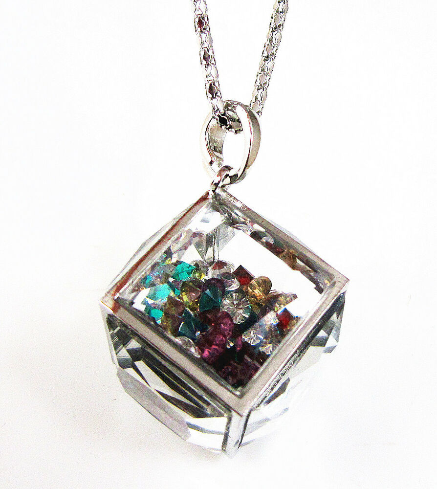 Silver Floating Rainbow Crystal Cube Square Glass Locket