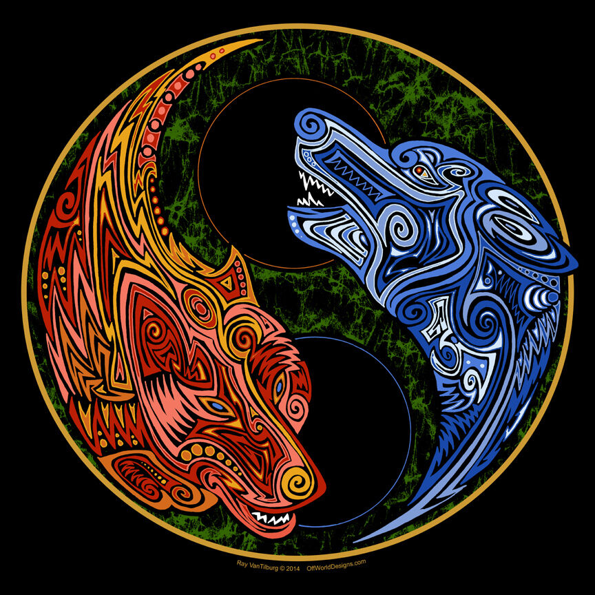 new t shirt yin yang wolves fire and ice tribal wolf art offworld designs ebay. Black Bedroom Furniture Sets. Home Design Ideas