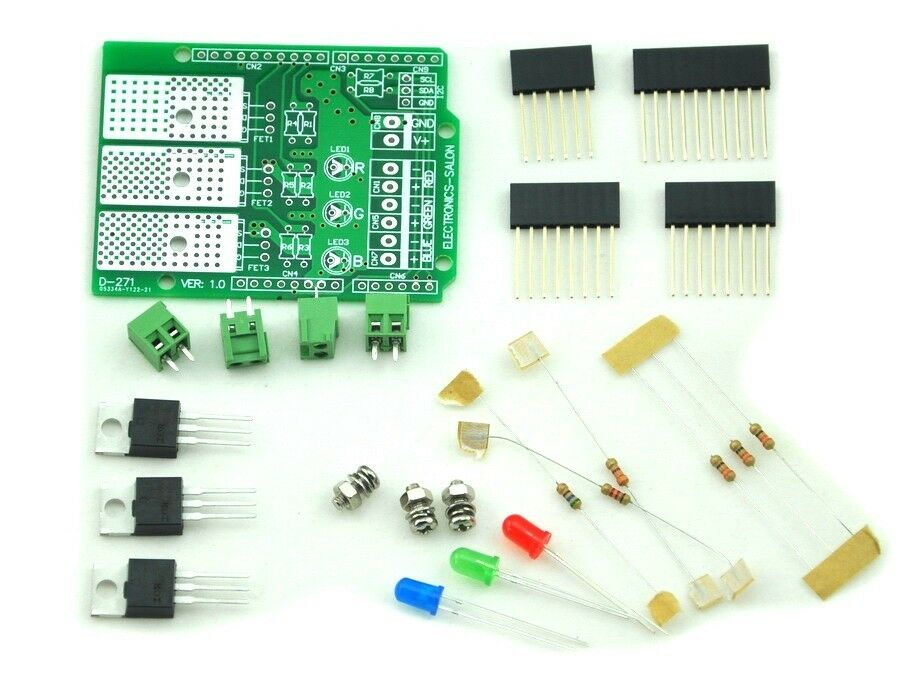 Rgb led dimmer shield kit for arduino uno meag