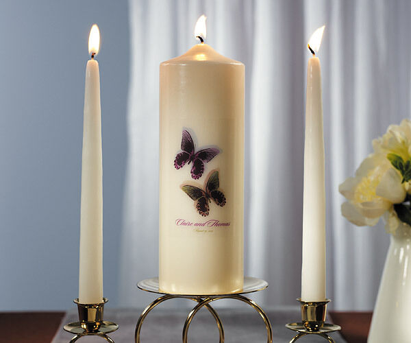 Wedding Candles: Beautiful Butterflies Personalized Unity Candle Ceremony