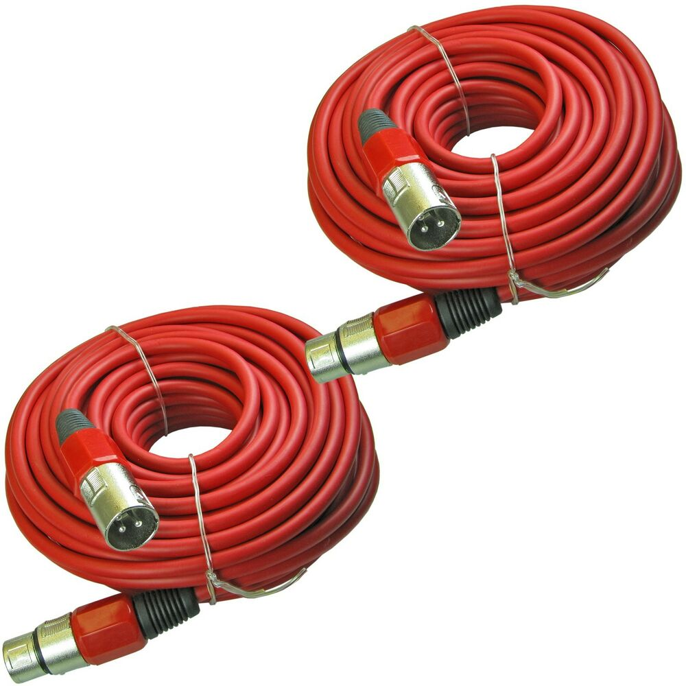 2 xlr 3 pin male to female pair shielded powered speaker cable cords 50 ft 15m ebay. Black Bedroom Furniture Sets. Home Design Ideas