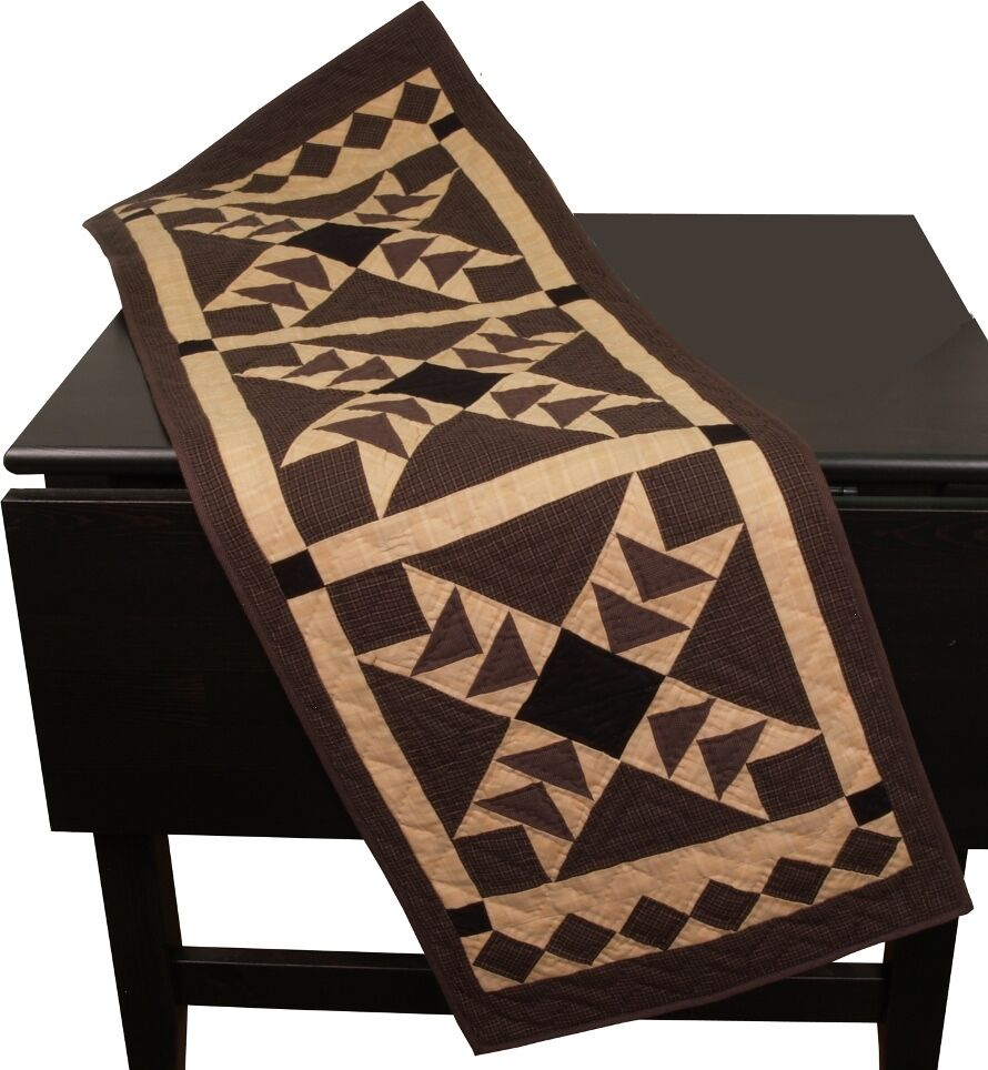 Primitive no tea dye black flying geese quilted table for Table runner