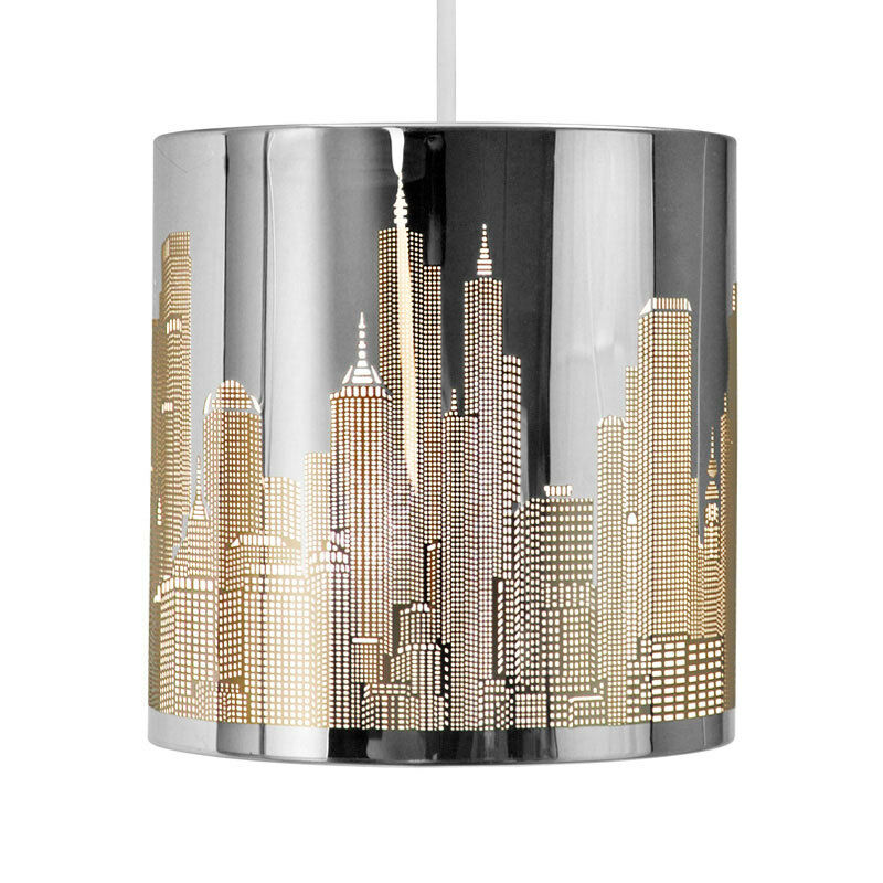 Modern new york skyline silver chrome ceiling pendant for Suspension moderne noir