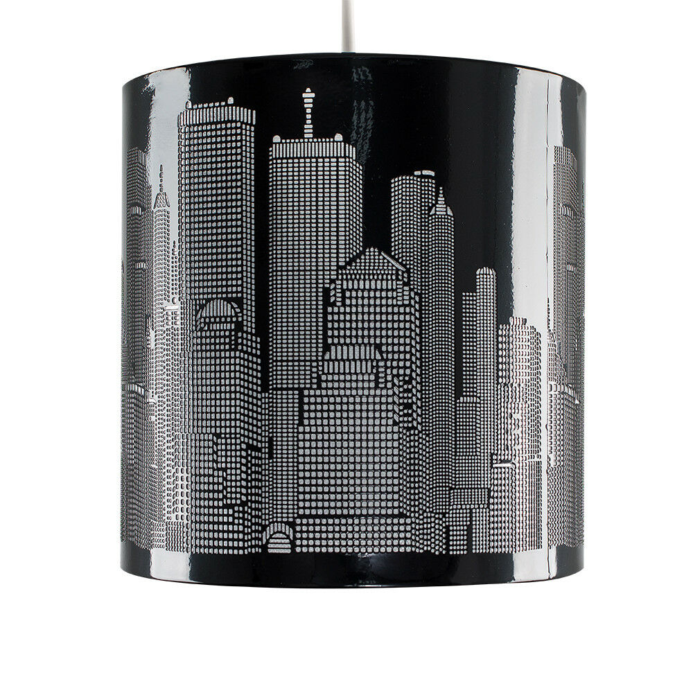 Gloss Black New York City Skyline Ceiling Pendant Light