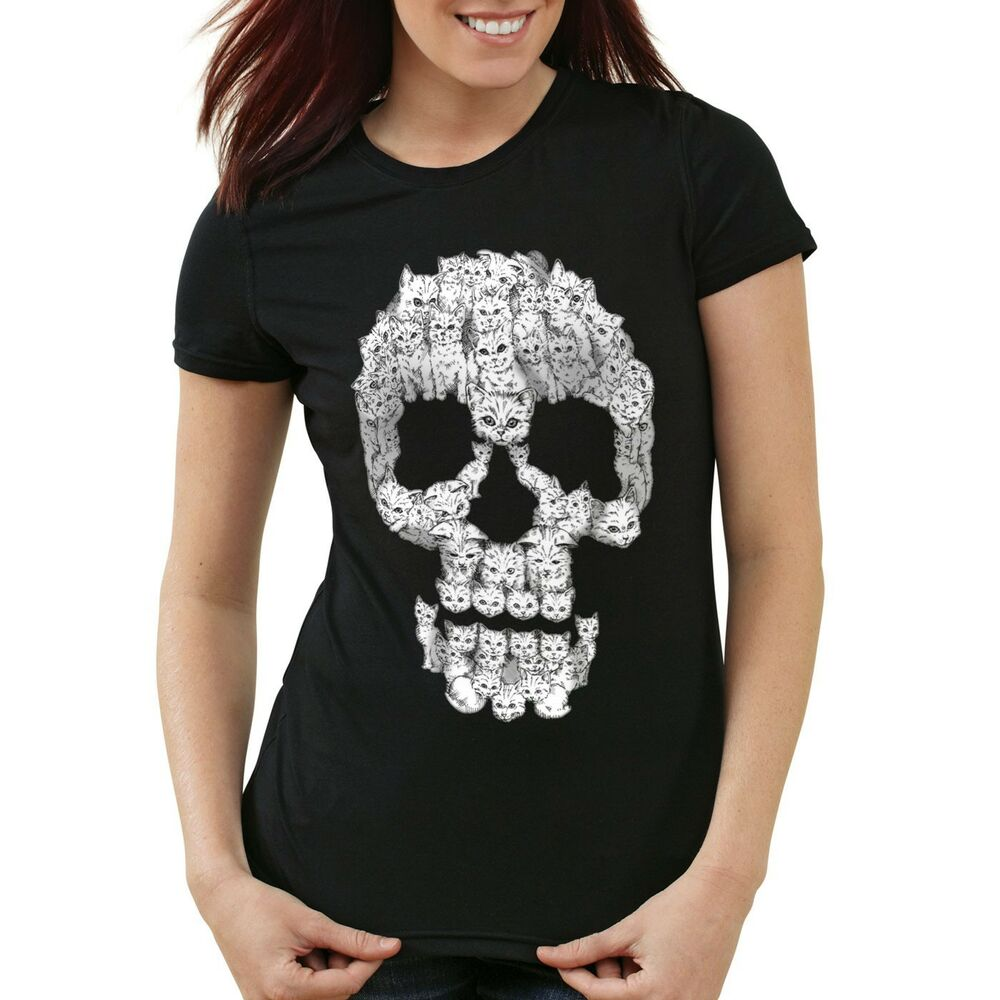 cat skull damen t shirt katze miez totenkopf kater katzen. Black Bedroom Furniture Sets. Home Design Ideas