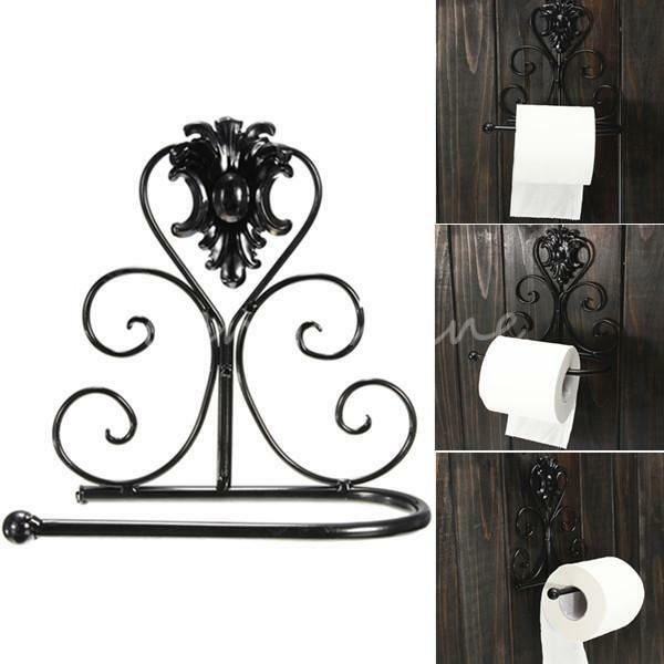 Iron wrought cast toilet paper towel roll holder bathroom - Wrought iron towel racks bathroom ...