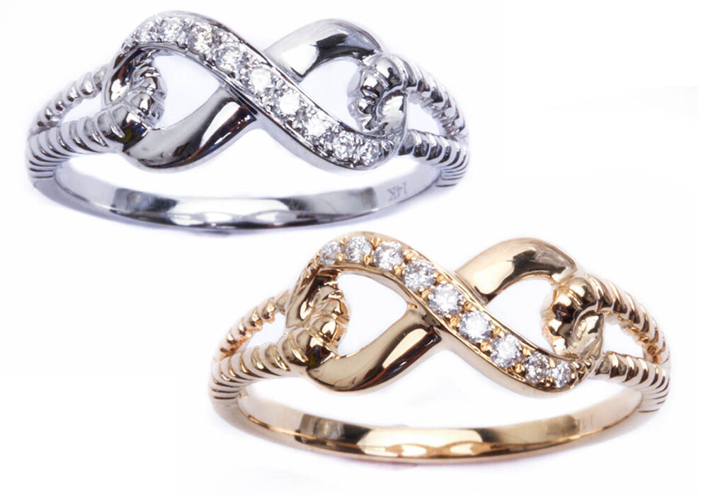 INFINITY SOLID 14KT WHITE & YELLOW GOLD DIAMOND BRAIDED