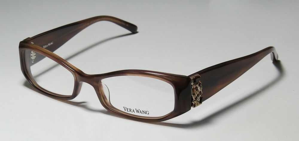 Designer Eyeglass Frames With Rhinestones : NEW VERA WANG V077 50-16-130 BROWN RHINESTONES DESIGNER ...