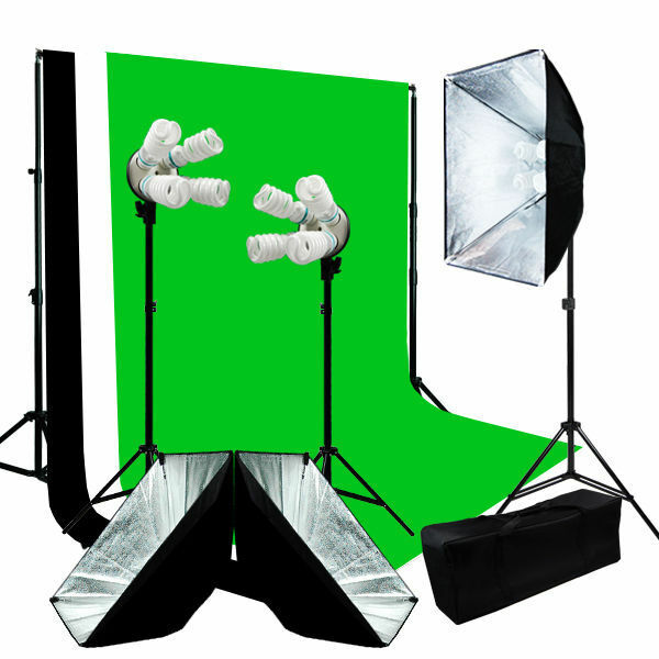 photo video studio 3 softbox lighting w backdrop stand. Black Bedroom Furniture Sets. Home Design Ideas