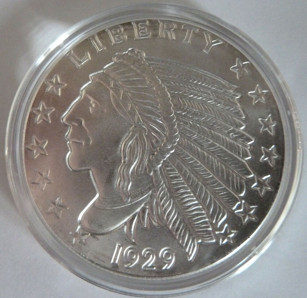 1929 Golden State Mint Incuse Indian 1 Oz 999 Silver