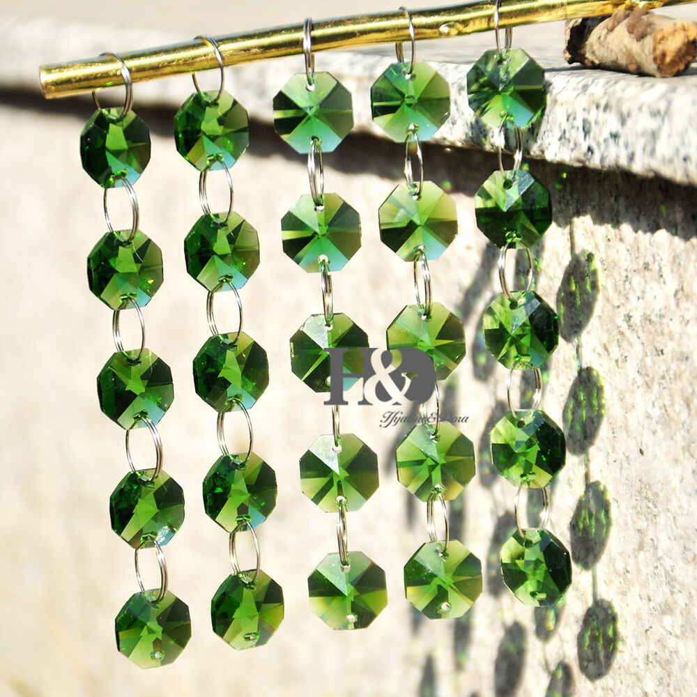 5pcs green prisms glass crystal octagon beads wedding chandelier parts 14mm ebay - Chandelier glass beads ...