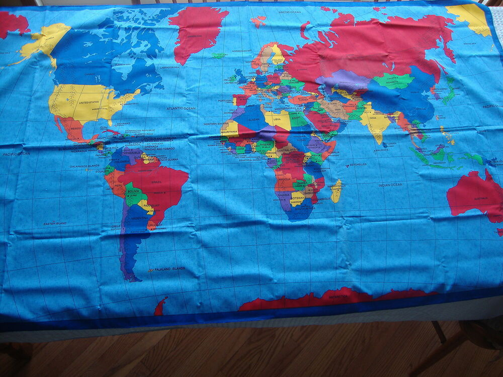 World map atlas scarf fabric world map wall hanging ebay for Fabric world