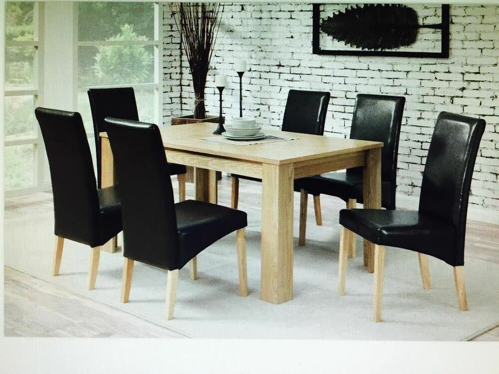 Dining Table 6 Chairs With Faux Leather Oak Furniture Dining Room Set Ebay