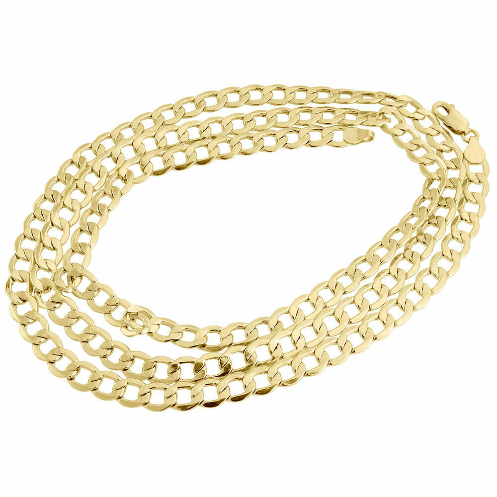 Mens hollow 10k yellow gold mm cuban curb link chain for 10k gold jewelry