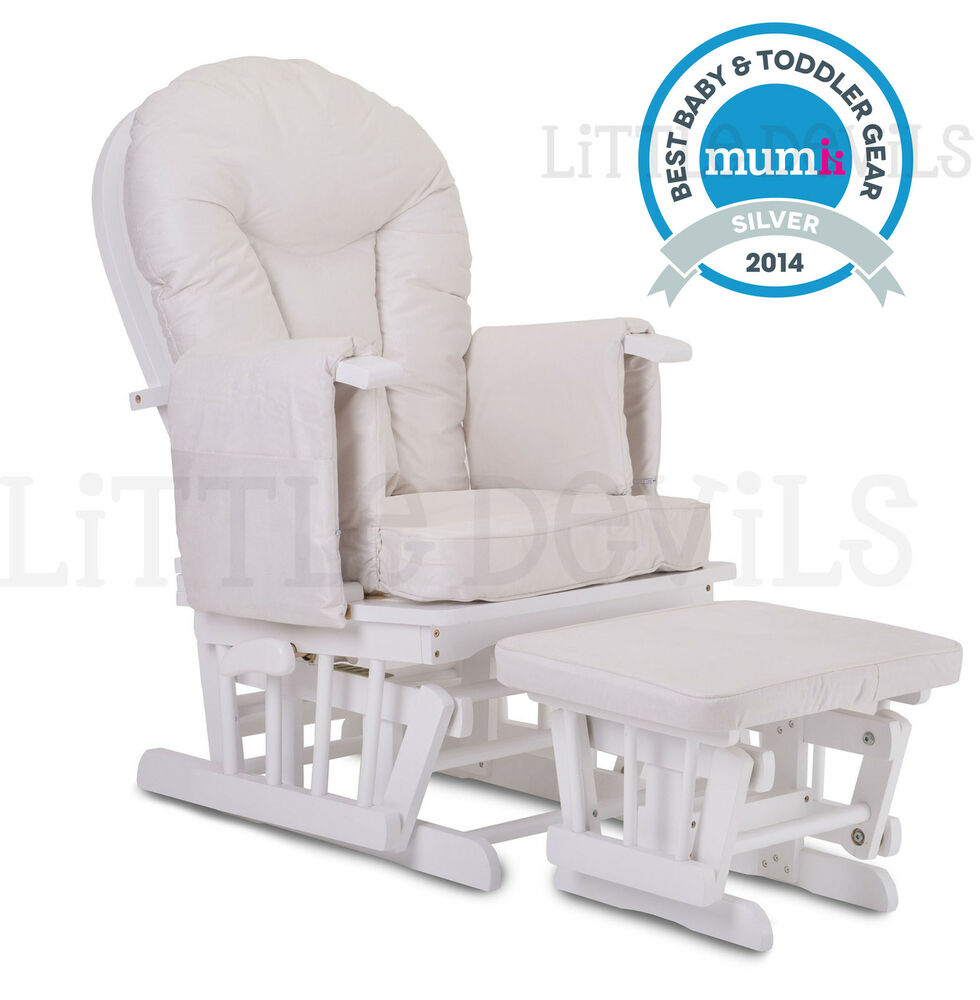 WHITE WOOD CREAM SUPREMO BAMBINO Nursing Glider Rocking Maternity Chair Sto