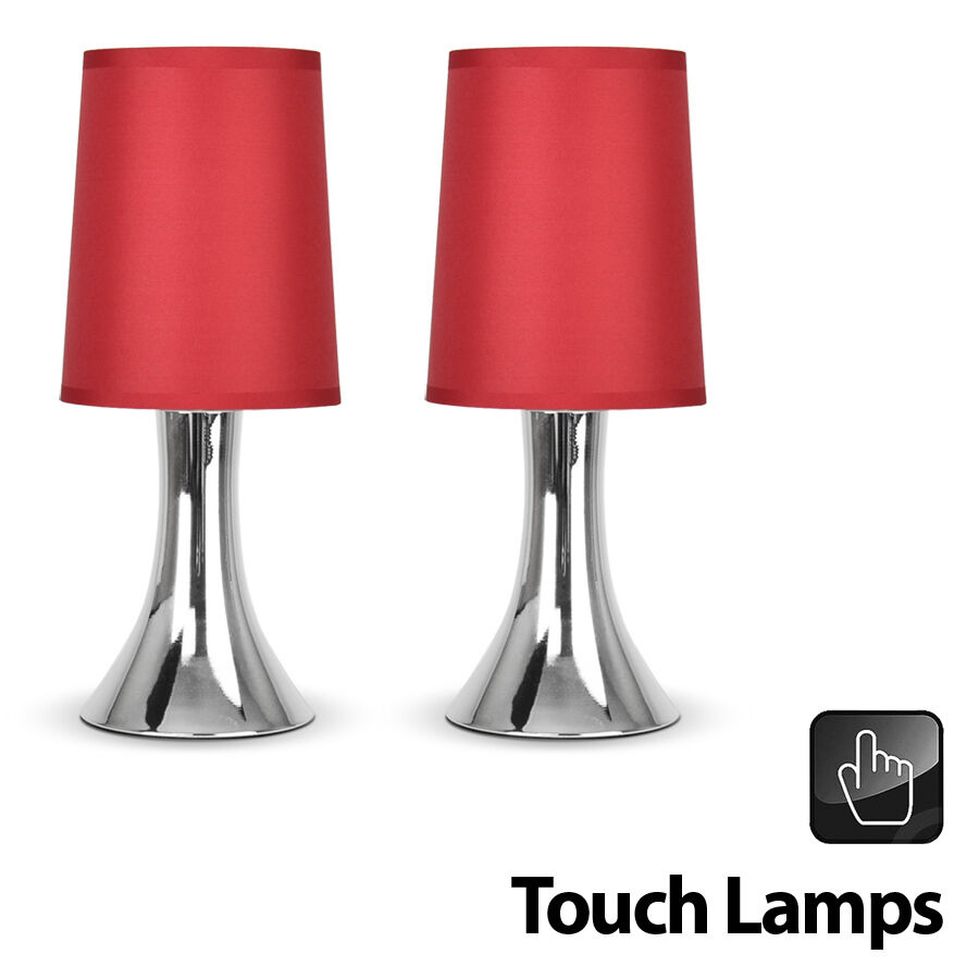 Pair of modern chrome red touch dimmer bedside table lights lamps new ebay - Bedside lamps with dimmer ...