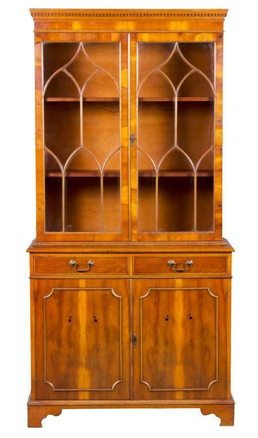 Antique Style Yew Wood Double Door Arched Fretwork