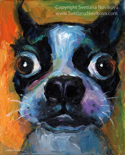 Art print funny colorful boston terrier dog art painting for Dog painting artist