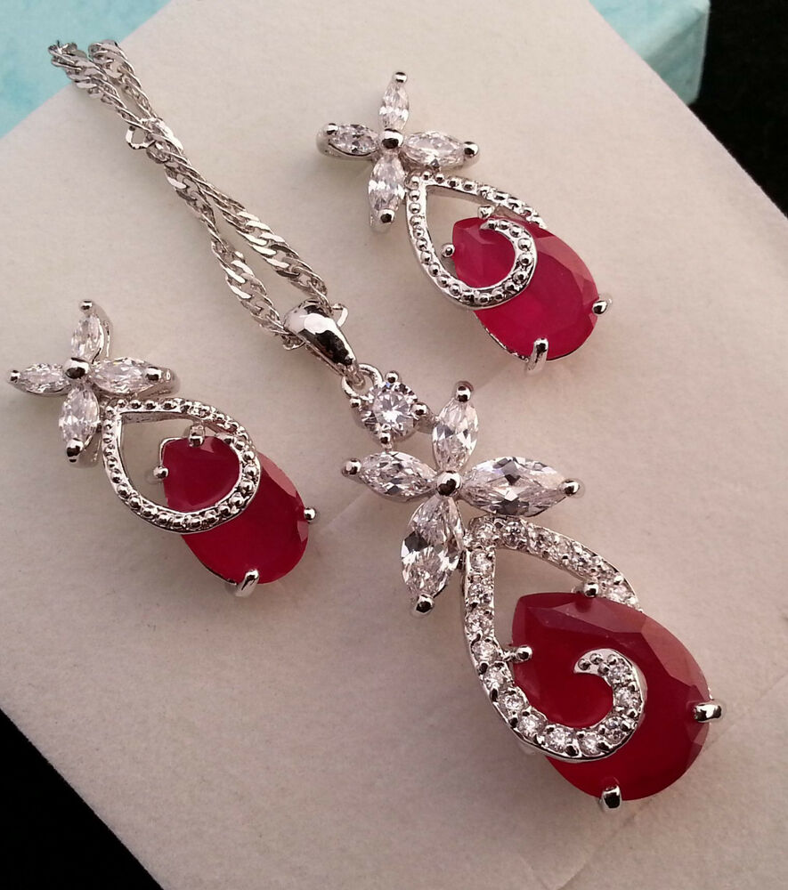 genuine red ruby silver teardrop pendant and earring
