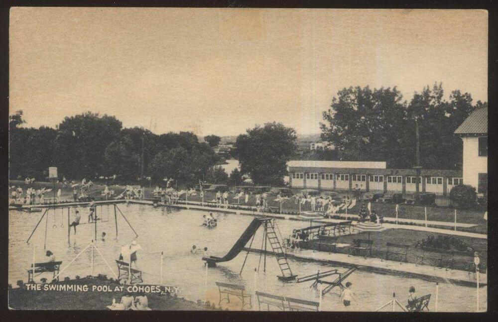 Postcard Cohoes New York Ny Town City Public Swimming Pool View 1930 39 S Ebay