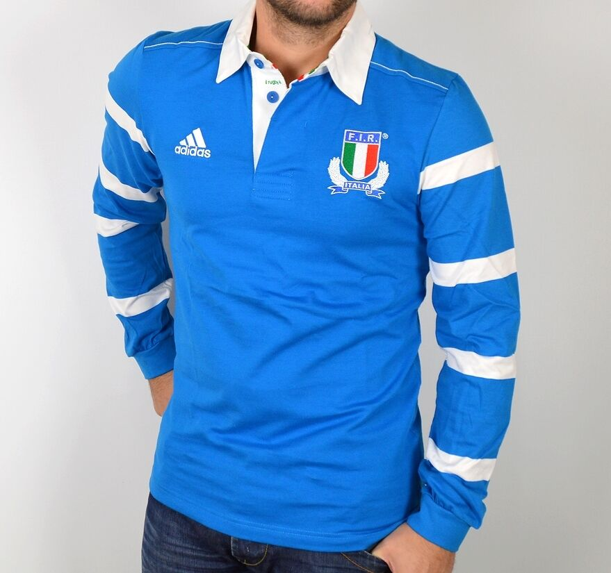 adidas herren langarm polo italia rugby shirt pullover hemd italy men blau wei ebay. Black Bedroom Furniture Sets. Home Design Ideas
