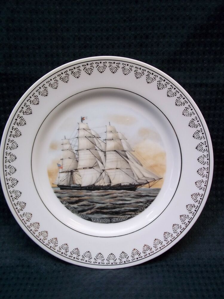 Currier ives decorative collectible plate flying cloud for Decoration plates