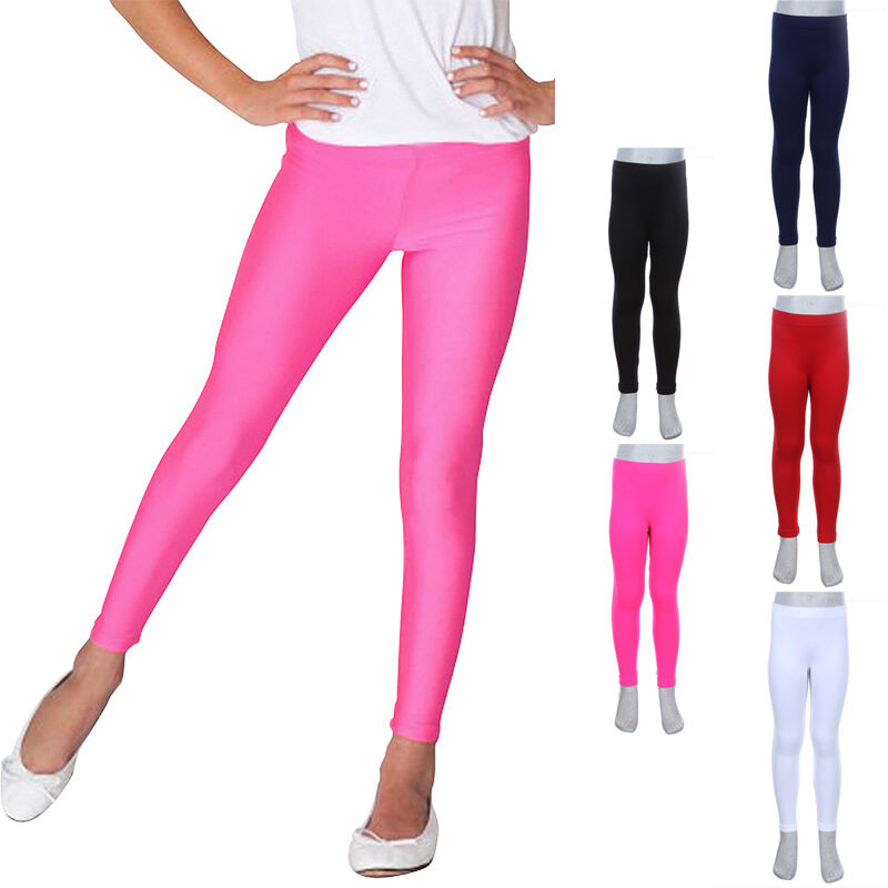 Girl's Seamless Plain Leggings Ankle Length Skinny Pants ...