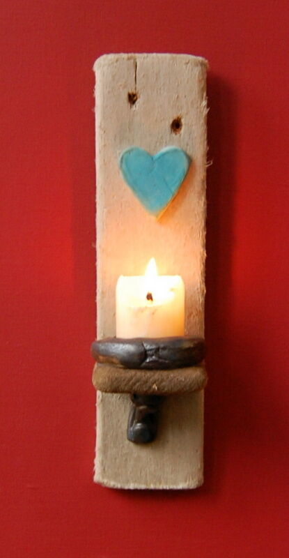 Driftwood Candle Wall Sconces : Dorset Driftwood Turquoise Ceramic Heart Night light Candle Holder/ Wall Sconce eBay