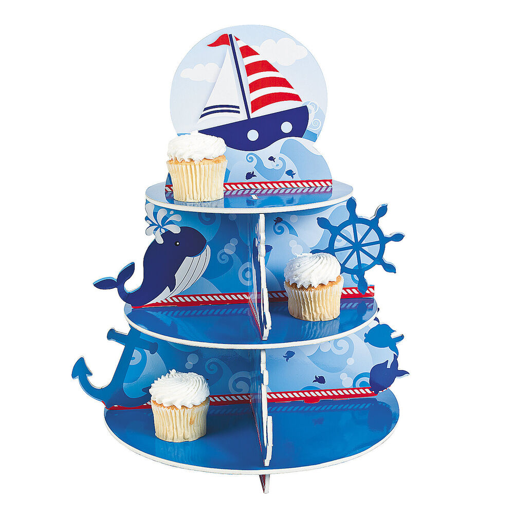 Birthday Party Yacht: 3 Tiered SAILING CUPCAKE HOLDER Kids Sail Ship Boat Ocean