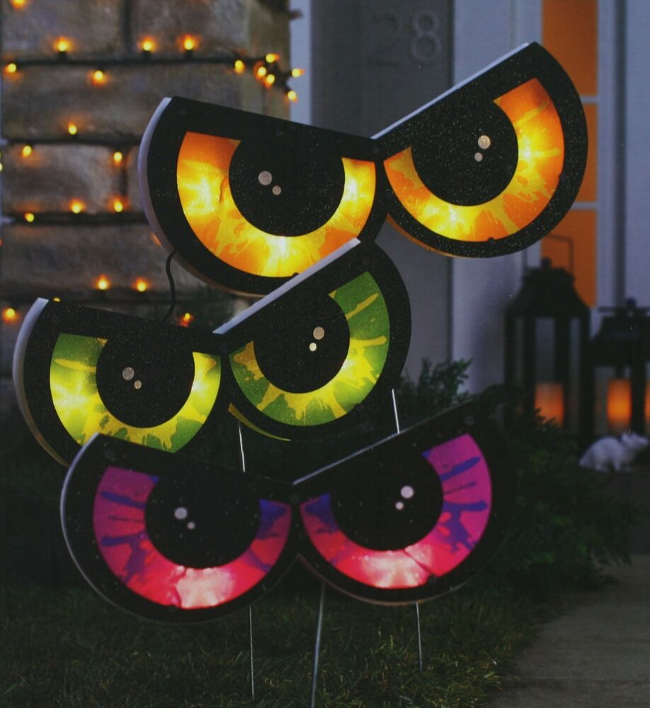 Halloween Spooky Eye Stake Lights 10 Clear Mini Bulbs & 3 ...
