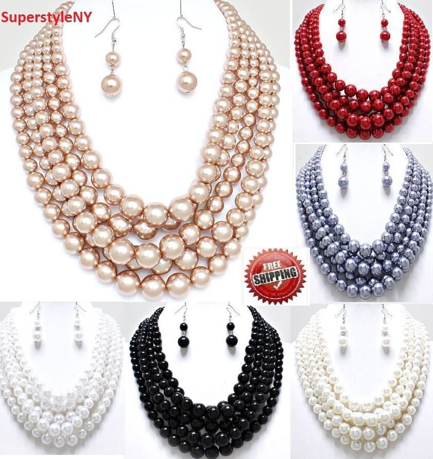 5 Multi Strand Bead Jewelry Earrings Chain Chunky Layered ...