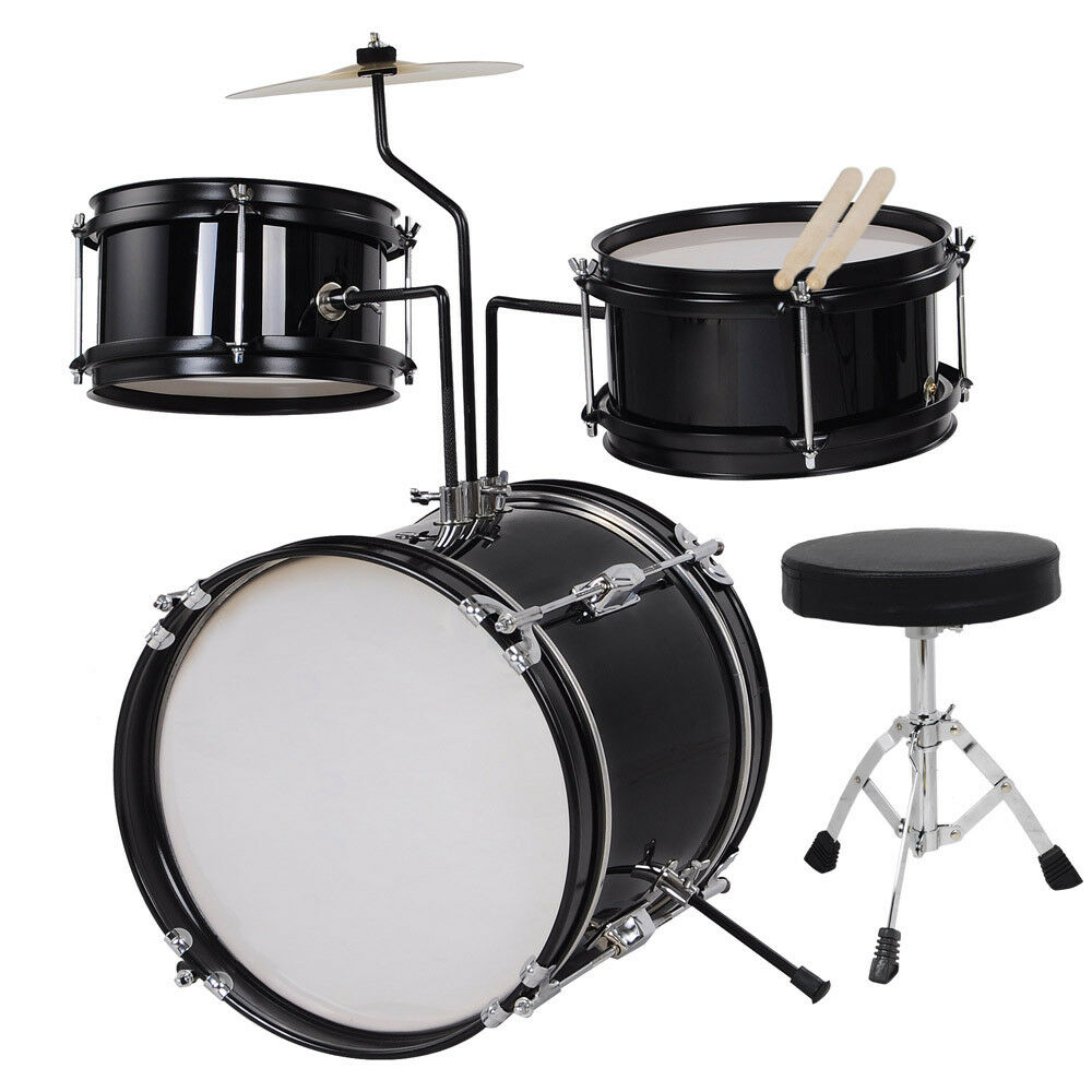 Black Drum Set 3 Piece Junior Complete Child Kids Kit With