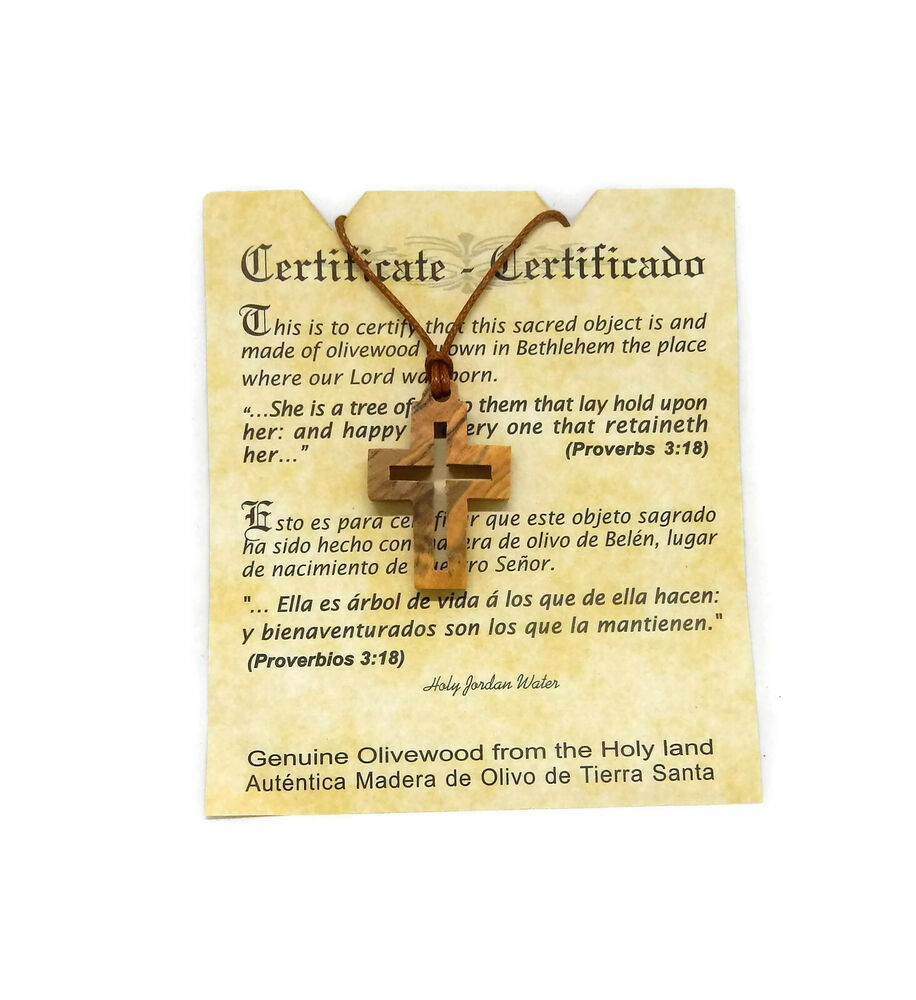 Square Cut Out Christian Cross Olive Wood Pendant Necklace Made in ...