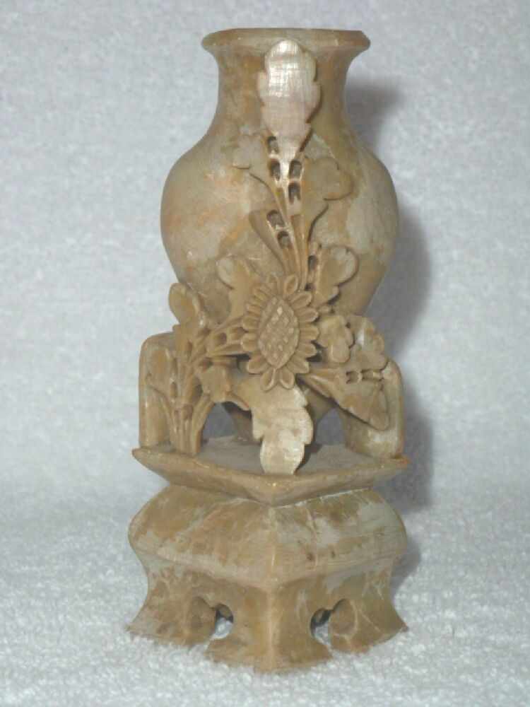 Antique chinese hand carved soapstone floral vase on stand