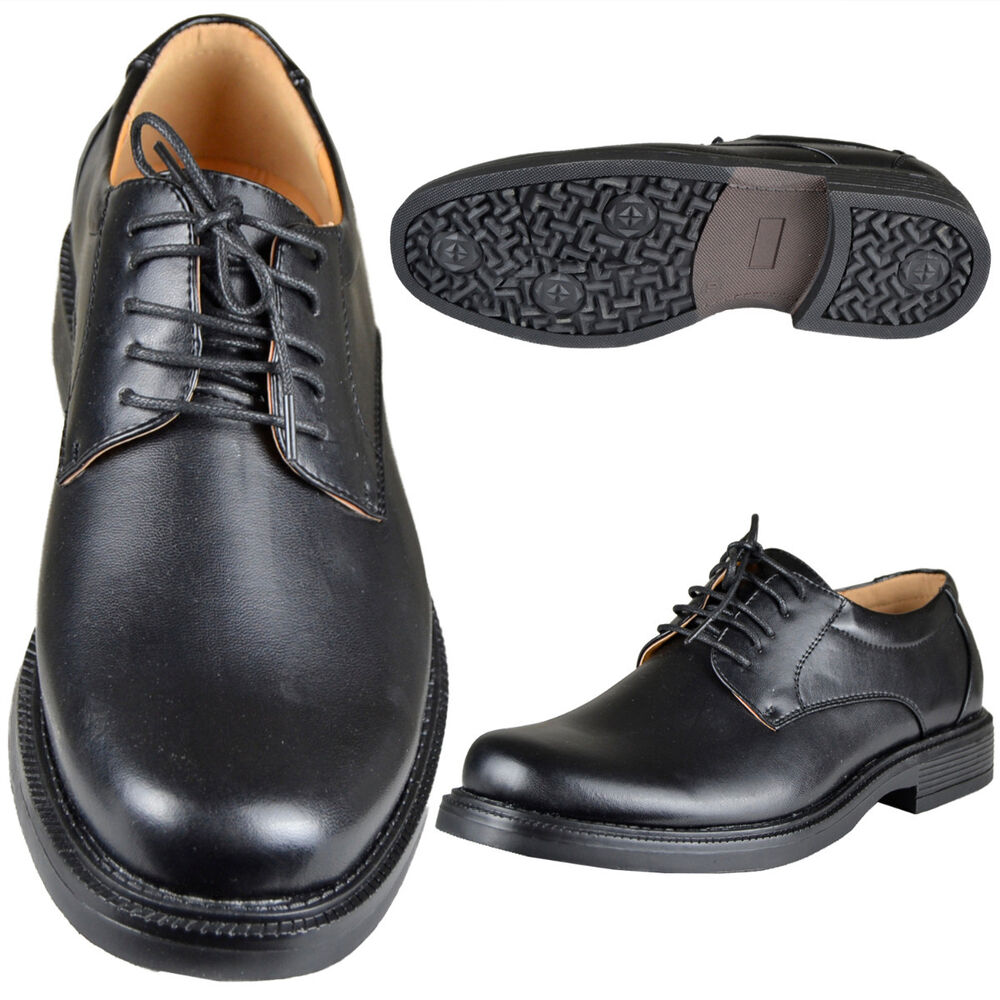 mens plain lace up derby faux leather formal dress shoes