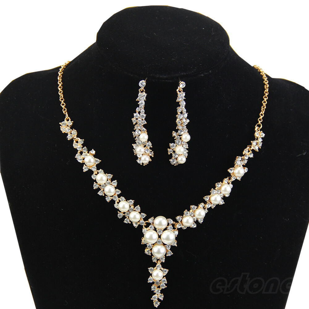 New Fashion Rhinestone Pearl Necklace And Earring For Wedding Bridal Jewelry Set | EBay