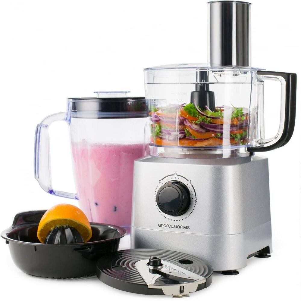 andrew james silver food processor blender mixer chopper citrus juicer 700w ebay. Black Bedroom Furniture Sets. Home Design Ideas
