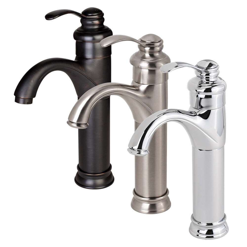 Bathroom Sink Faucets: NEW Bathroom Faucet Vessel Sink Lavatory Single Handle Hole Matching Popup Drain