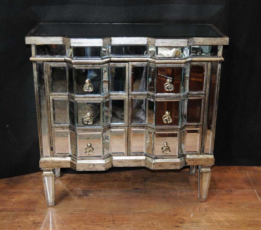 Art deco mirror chest drawers mirrored furniture chests for Deco 3 miroirs