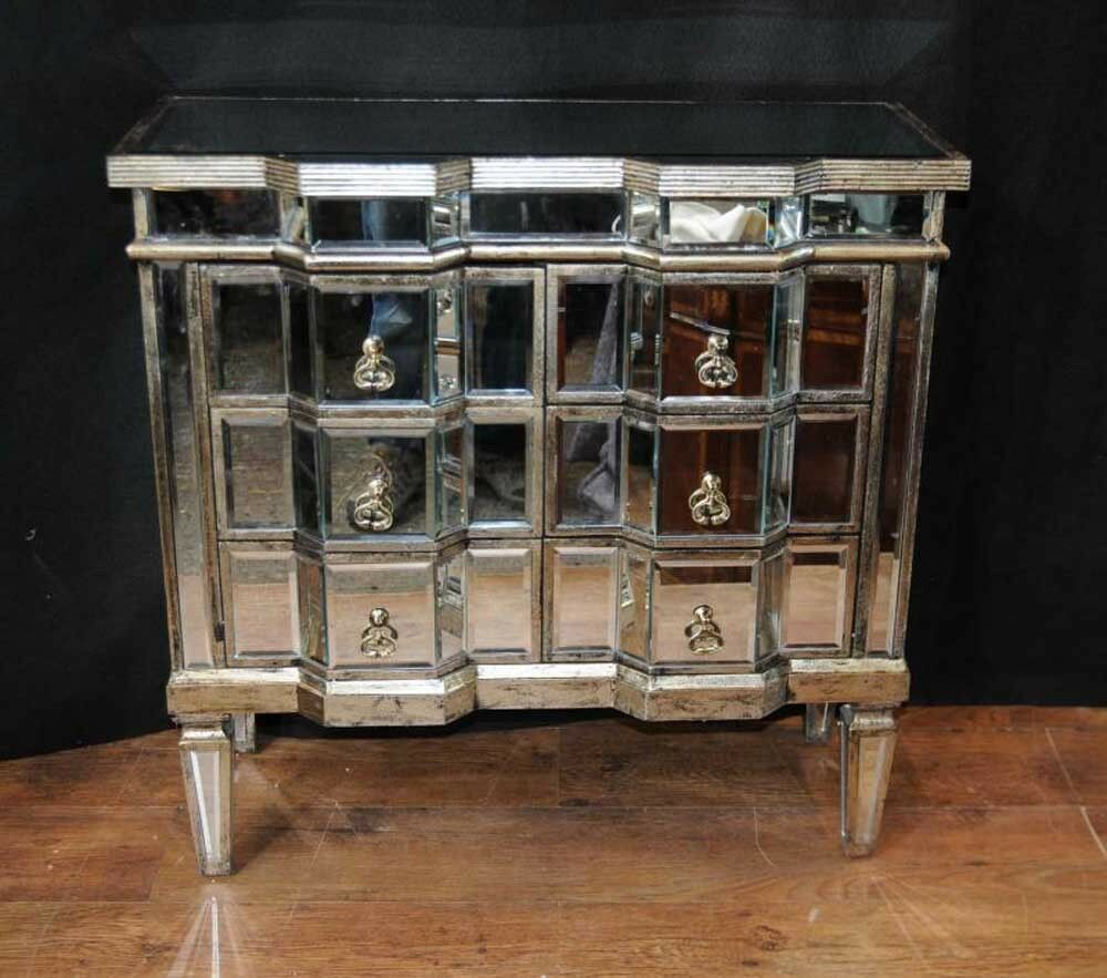 art deco mirror chest drawers mirrored furniture chests cabinet ebay. Black Bedroom Furniture Sets. Home Design Ideas