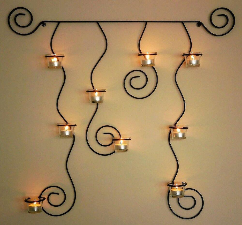 Wall Hung Tea Light Holders : Wall mounted tea light holder Lysa Black candle From Metal 74cm Tealight eBay